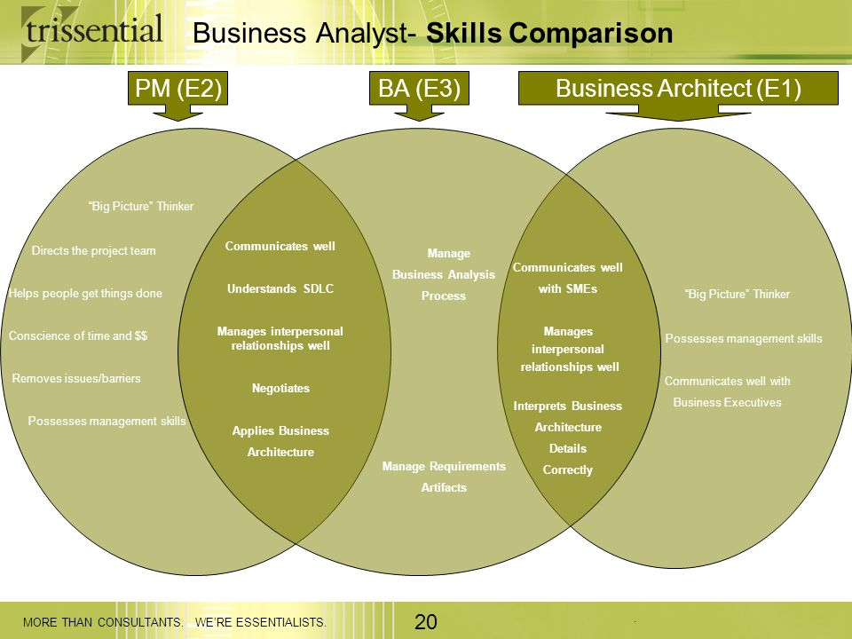 . MORE THAN CONSULTANTS. WERE ESSENTIALISTS. 20 Business Analyst- Skills Comparison PM (E2)BA (E3)Business Architect (E1) Big Picture Thinker Directs