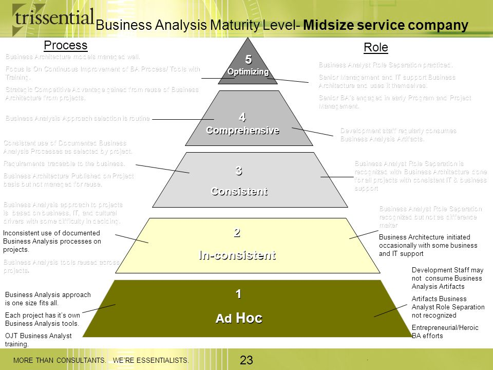 . MORE THAN CONSULTANTS. WERE ESSENTIALISTS. 23 Business Analysis Maturity Level- Midsize service company 5 Optimizing 4 Comprehensive 3 Consistent 3