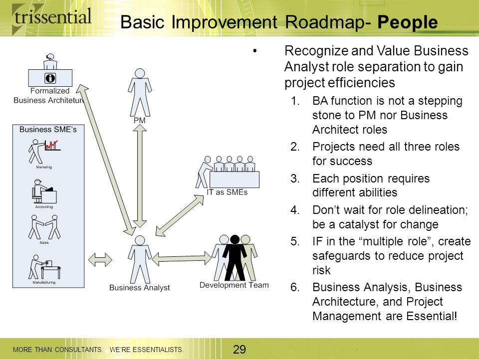 . MORE THAN CONSULTANTS. WERE ESSENTIALISTS. 29 Basic Improvement Roadmap- People Recognize and Value Business Analyst role separation to gain project