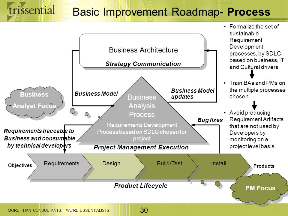 . MORE THAN CONSULTANTS. WERE ESSENTIALISTS. 30 Basic Improvement Roadmap- Process Business Model updates Objectives Requirements traceable to Busines