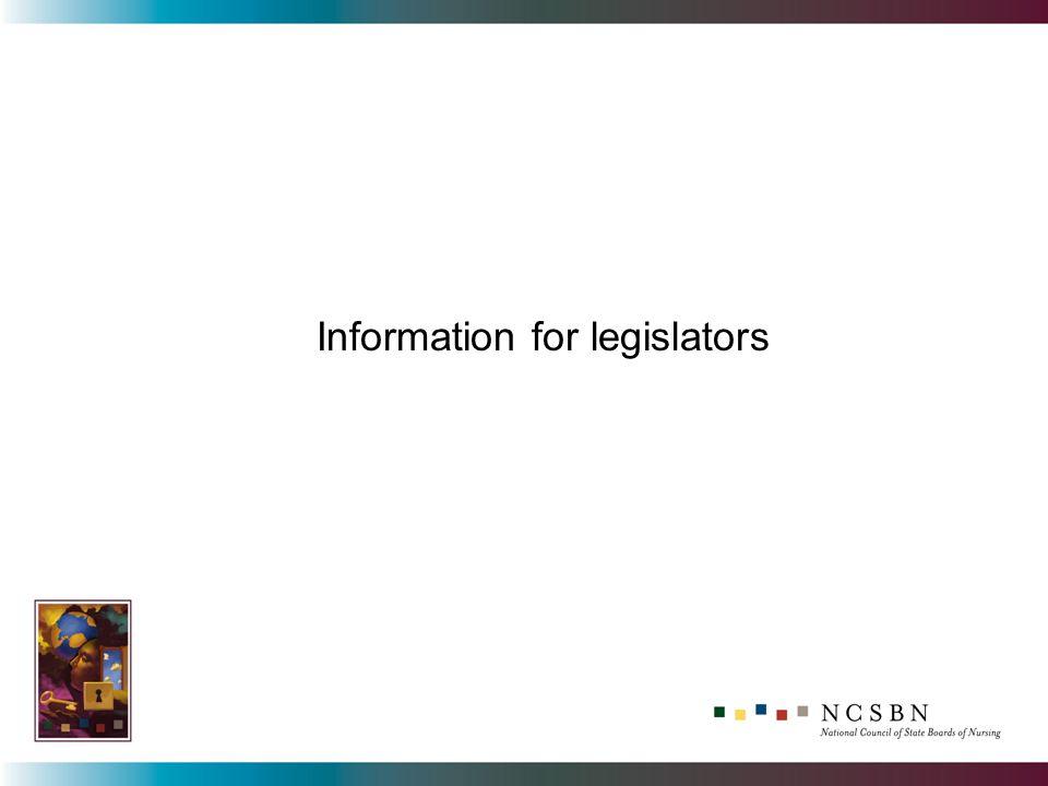 Information for legislators