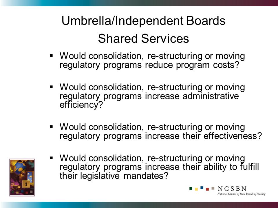Would consolidation, re-structuring or moving regulatory programs reduce program costs? Would consolidation, re-structuring or moving regulatory progr