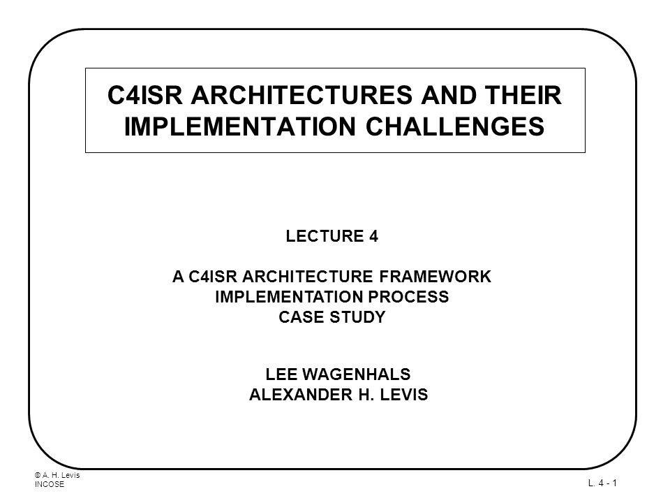 © A. H. Levis INCOSE L. 4 - 1 C4ISR ARCHITECTURES AND THEIR IMPLEMENTATION CHALLENGES LECTURE 4 A C4ISR ARCHITECTURE FRAMEWORK IMPLEMENTATION PROCESS