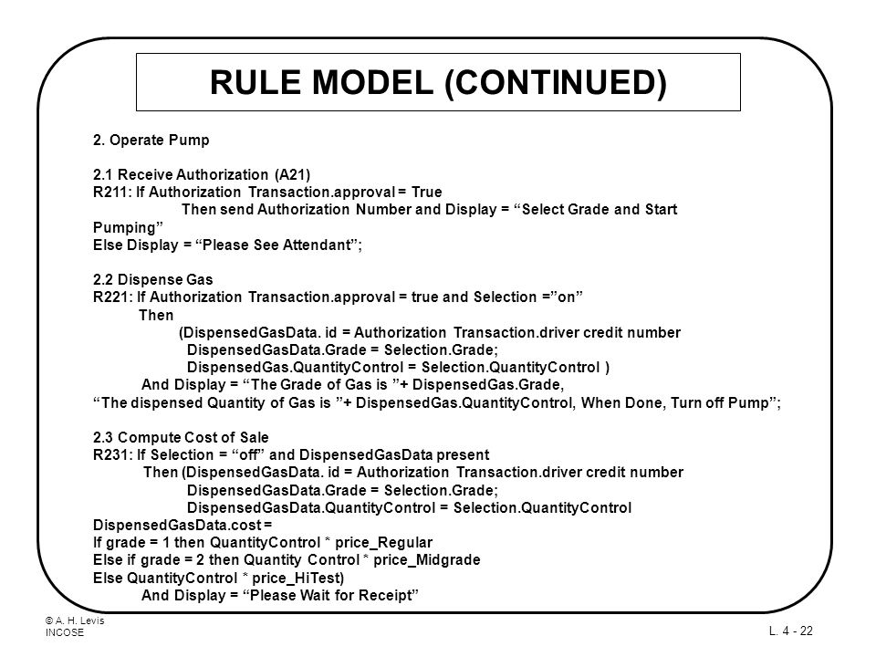 © A. H. Levis INCOSE L. 4 - 22 RULE MODEL (CONTINUED) 2. Operate Pump 2.1 Receive Authorization (A21) R211: If Authorization Transaction.approval = Tr