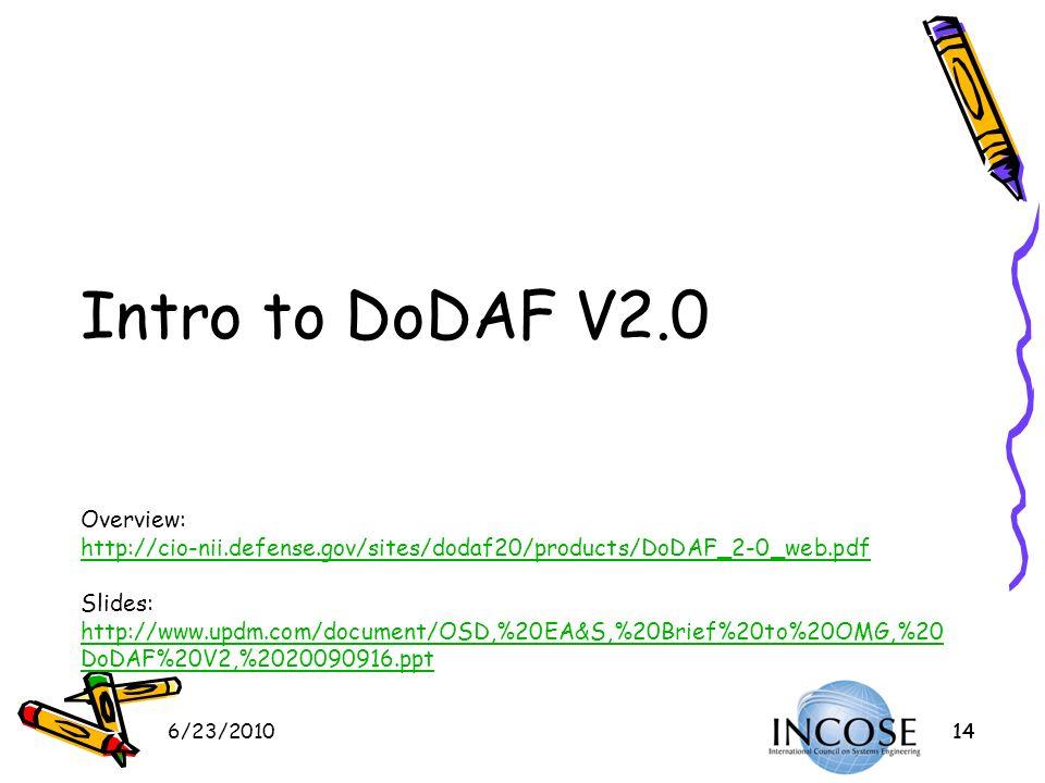 6/23/201014 Intro to DoDAF V2.0 Overview: http://cio-nii.defense.gov/sites/dodaf20/products/DoDAF_2-0_web.pdf Slides: http://www.updm.com/document/OSD