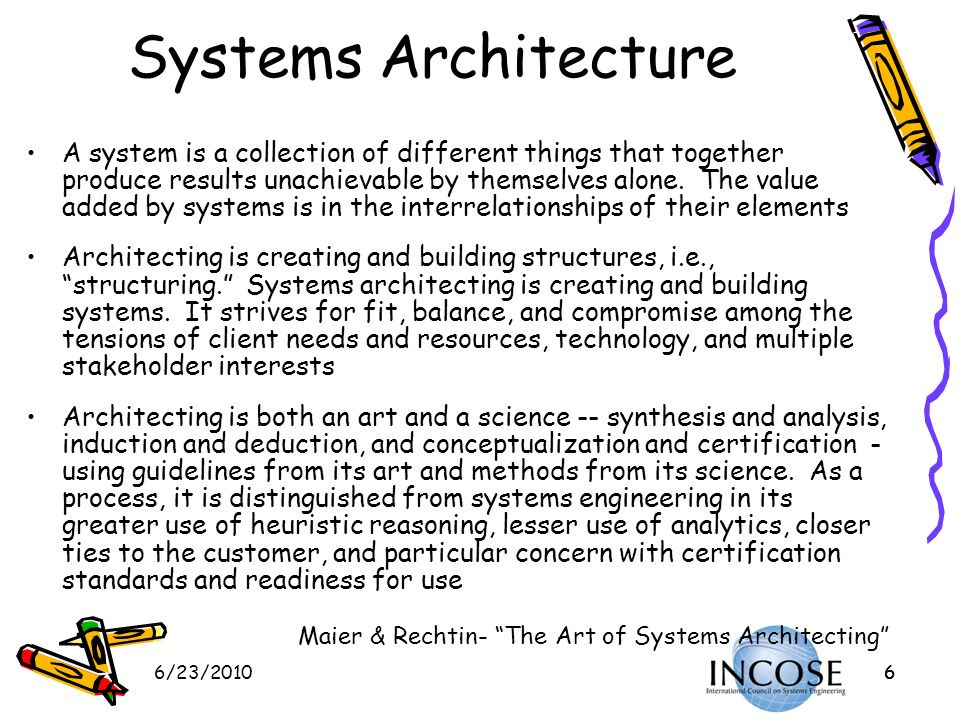 6/23/201017 DoD Architecture Framework (DoDAF V2.0) Original DoDAF Views have been expanded to better organize information and reflect data that practitioners actually use Modified Viewpoints The original DoDAF Systems View has been separated into a Systems Viewpoint (SV) and a Service Viewpoint (SvcV) to accommodate extension to both systems and software/services engineering practice All the models of data (Conceptual, Logical, and Physical) have been moved into the Data & Information Viewpoint (DIV) The Operational Viewpoint (OV) now describes rules and constraints for any function (business, intelligence, warfighting, etc) Technical View (TV) has been updated to the Standards Viewpoint (StdV) to describe business, commercial, and doctrinal standards in addition to technical standards The All Viewpoint (AV) is essentially the same