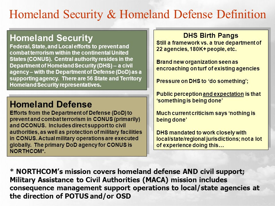 Homeland Security & Homeland Defense Definition Homeland Security Federal, State, and Local efforts to prevent and combat terrorism within the continental United States (CONUS).