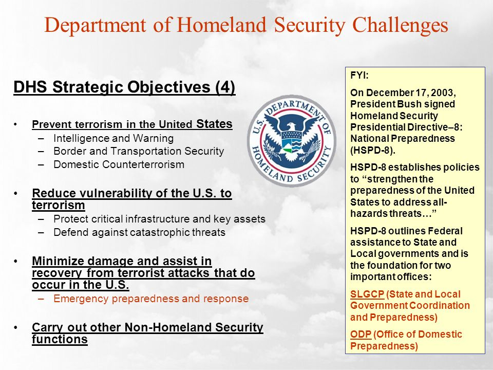 Department of Homeland Security Challenges DHS Strategic Objectives (4) Prevent terrorism in the United States –Intelligence and Warning –Border and T