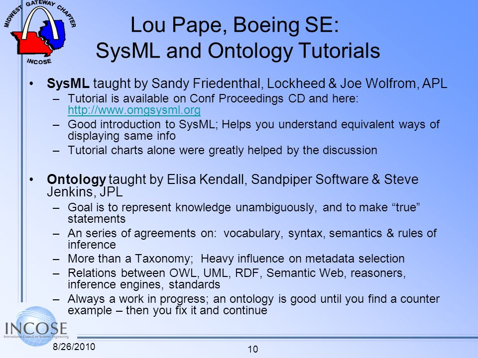 Lou Pape, Boeing SE: SysML and Ontology Tutorials SysML taught by Sandy Friedenthal, Lockheed & Joe Wolfrom, APL –Tutorial is available on Conf Procee