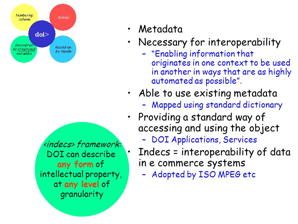 framework: DOI can describe any form of intellectual property, at any level of granularity Metadata Necessary for interoperability –Enabling information that originates in one context to be used in another in ways that are as highly automated as possible.