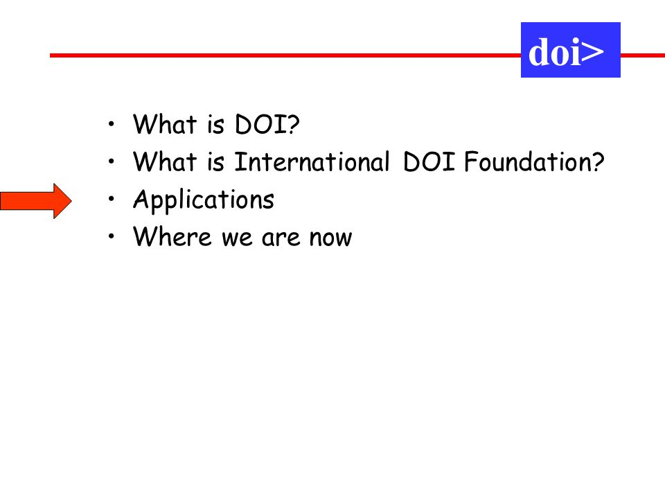 What is DOI What is International DOI Foundation Applications Where we are now doi>