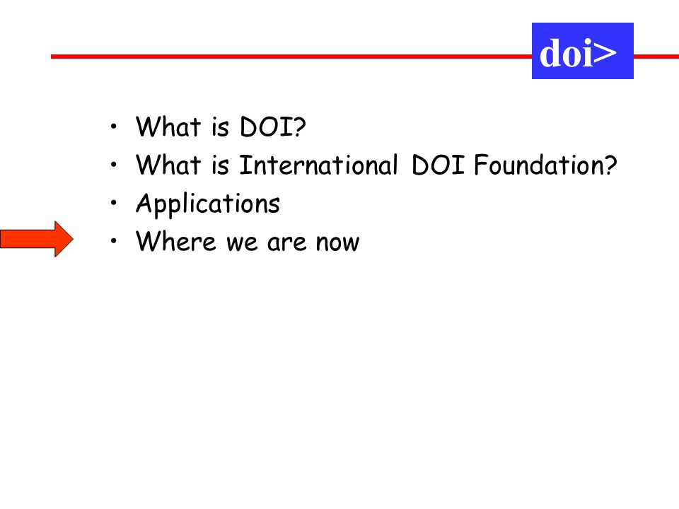 What is DOI? What is International DOI Foundation? Applications Where we are now doi>