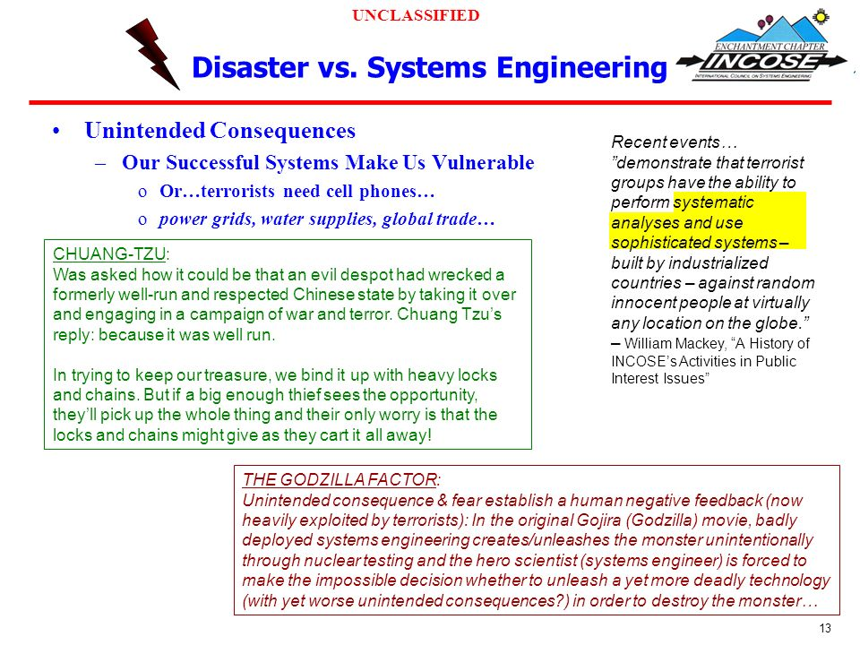 UNCLASSIFIED 13 Disaster vs.
