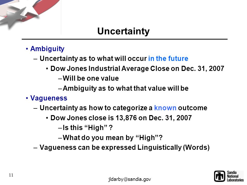 11 jldarby@sandia.gov Uncertainty Ambiguity –Uncertainty as to what will occur in the future Dow Jones Industrial Average Close on Dec.