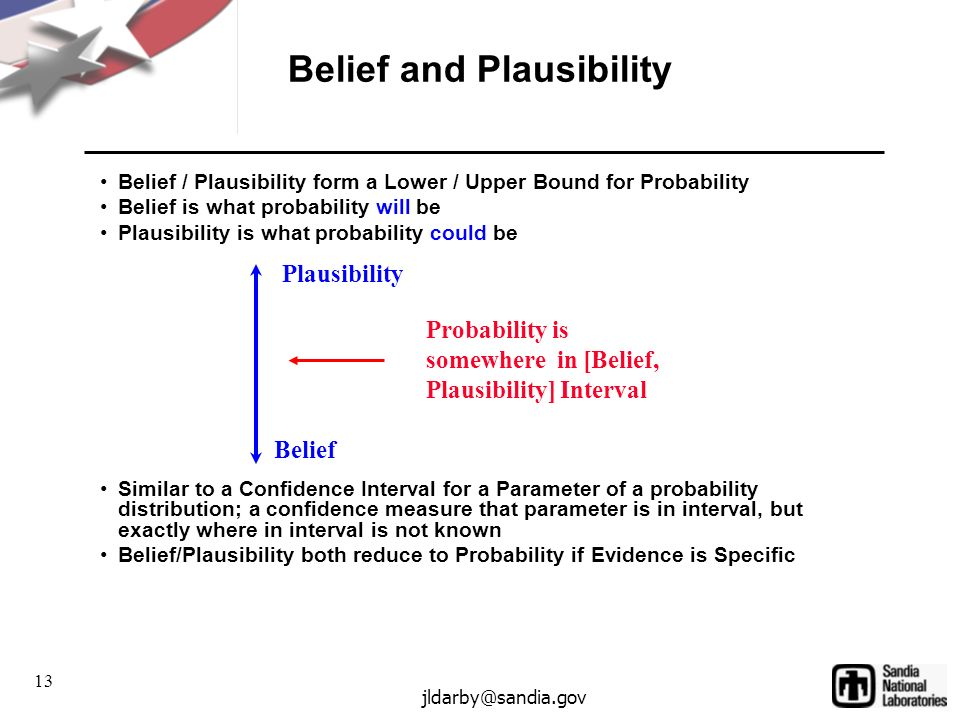 13 jldarby@sandia.gov Belief and Plausibility Belief / Plausibility form a Lower / Upper Bound for Probability Belief is what probability will be Plausibility is what probability could be Similar to a Confidence Interval for a Parameter of a probability distribution; a confidence measure that parameter is in interval, but exactly where in interval is not known Belief/Plausibility both reduce to Probability if Evidence is Specific Plausibility Belief Probability is somewhere in [Belief, Plausibility] Interval