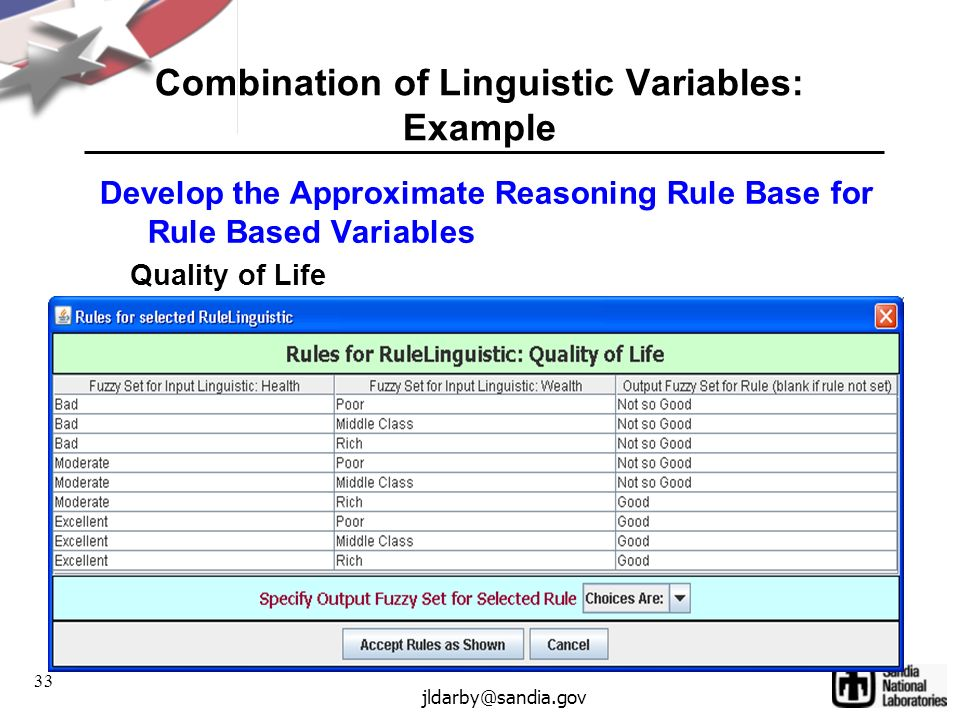 33 jldarby@sandia.gov Combination of Linguistic Variables: Example Develop the Approximate Reasoning Rule Base for Rule Based Variables Quality of Life