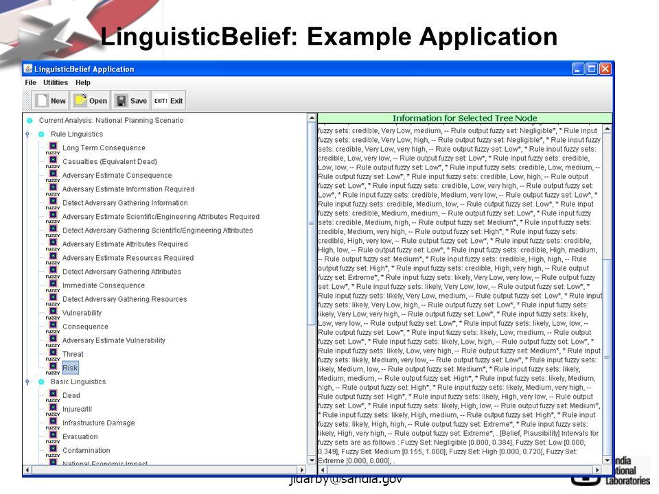 45 jldarby@sandia.gov LinguisticBelief: Example Application