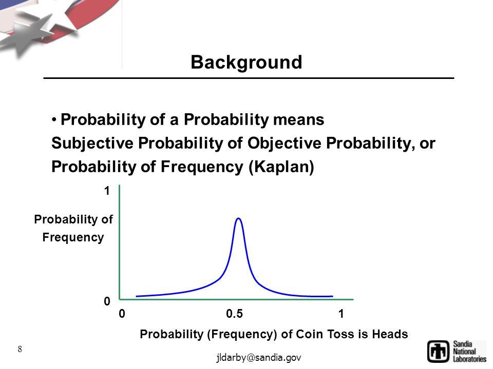 8 jldarby@sandia.gov Background Probability of a Probability means Subjective Probability of Objective Probability, or Probability of Frequency (Kaplan) Probability (Frequency) of Coin Toss is Heads Probability of Frequency 00.51 0 1