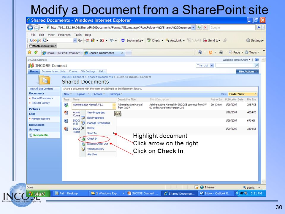 30 Highlight document Click arrow on the right Click on Check In Modify a Document from a SharePoint site