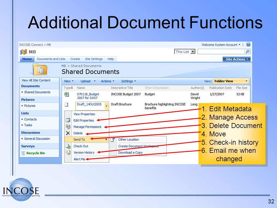 32 Additional Document Functions 1. Edit Metadata 2. Manage Access 3. Delete Document 4. Move 5. Check-in history 6. Email me when changed 1. Edit Met