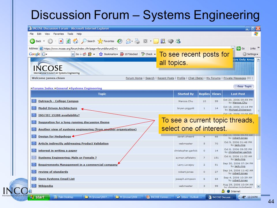 44 Discussion Forum – Systems Engineering To see a current topic threads, select one of interest. To see a current topic threads, select one of intere