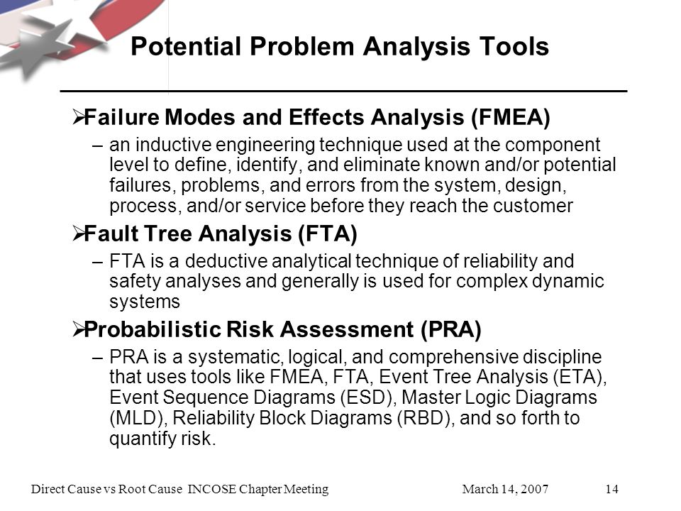 March 14, 2007Direct Cause vs Root Cause INCOSE Chapter Meeting14 Potential Problem Analysis Tools Failure Modes and Effects Analysis (FMEA) –an inductive engineering technique used at the component level to define, identify, and eliminate known and/or potential failures, problems, and errors from the system, design, process, and/or service before they reach the customer Fault Tree Analysis (FTA) –FTA is a deductive analytical technique of reliability and safety analyses and generally is used for complex dynamic systems Probabilistic Risk Assessment (PRA) –PRA is a systematic, logical, and comprehensive discipline that uses tools like FMEA, FTA, Event Tree Analysis (ETA), Event Sequence Diagrams (ESD), Master Logic Diagrams (MLD), Reliability Block Diagrams (RBD), and so forth to quantify risk.