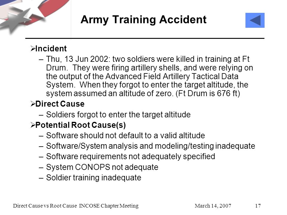 March 14, 2007Direct Cause vs Root Cause INCOSE Chapter Meeting17 Army Training Accident Incident –Thu, 13 Jun 2002: two soldiers were killed in training at Ft Drum.