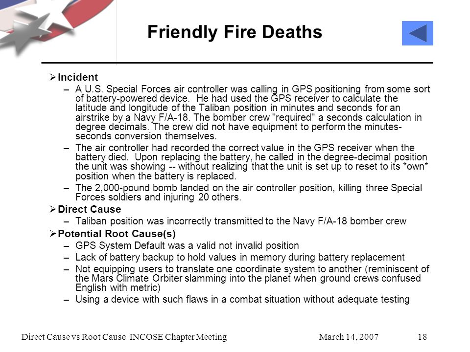 March 14, 2007Direct Cause vs Root Cause INCOSE Chapter Meeting18 Friendly Fire Deaths Incident –A U.S.