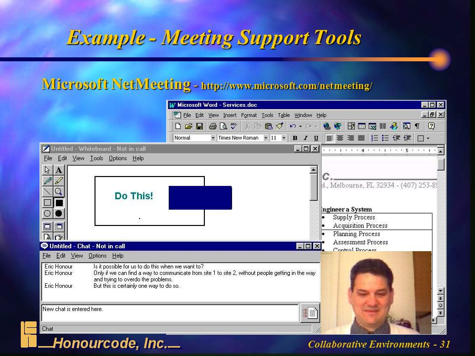 Collaborative Environments - 31 Example - Meeting Support Tools Microsoft NetMeeting -