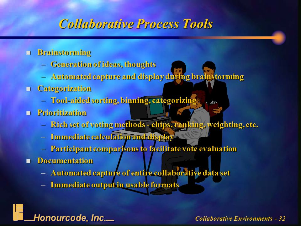 Collaborative Environments - 32 Collaborative Process Tools n Brainstorming –Generation of ideas, thoughts –Automated capture and display during brainstorming n Categorization –Tool-aided sorting, binning, categorizing n Prioritization –Rich set of voting methods - chips, ranking, weighting, etc.
