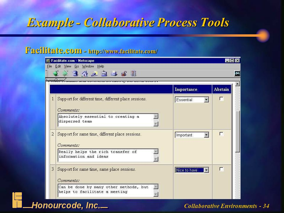 Collaborative Environments - 34 Example - Collaborative Process Tools Facilitate.com -