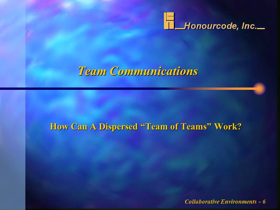 Collaborative Environments - 6 Team Communications How Can A Dispersed Team of Teams Work