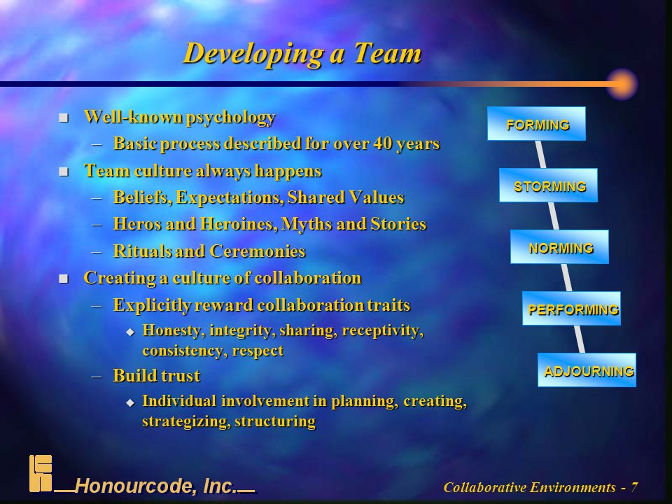 Collaborative Environments - 7 Developing a Team n Well-known psychology –Basic process described for over 40 years n Team culture always happens –Beliefs, Expectations, Shared Values –Heros and Heroines, Myths and Stories –Rituals and Ceremonies n Creating a culture of collaboration –Explicitly reward collaboration traits u Honesty, integrity, sharing, receptivity, consistency, respect –Build trust u Individual involvement in planning, creating, strategizing, structuring FORMING STORMING NORMING PERFORMING ADJOURNING