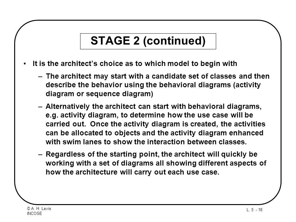 L. 5 - 18 © A. H. Levis INCOSE STAGE 2 (continued) It is the architects choice as to which model to begin with –The architect may start with a candida