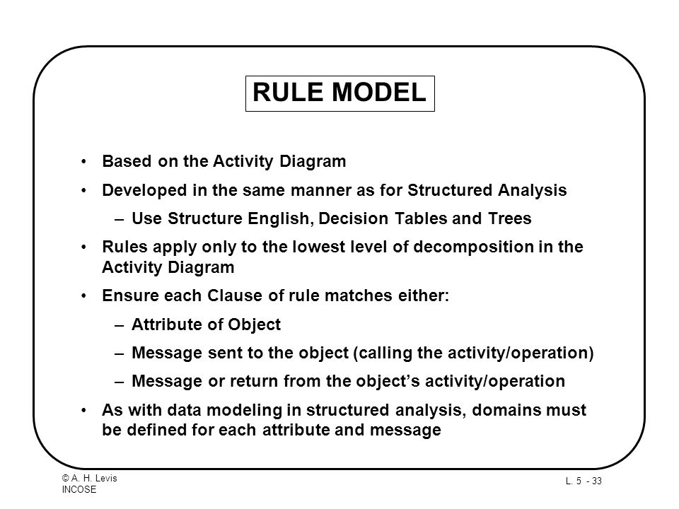 L. 5 - 33 © A. H. Levis INCOSE RULE MODEL Based on the Activity Diagram Developed in the same manner as for Structured Analysis –Use Structure English