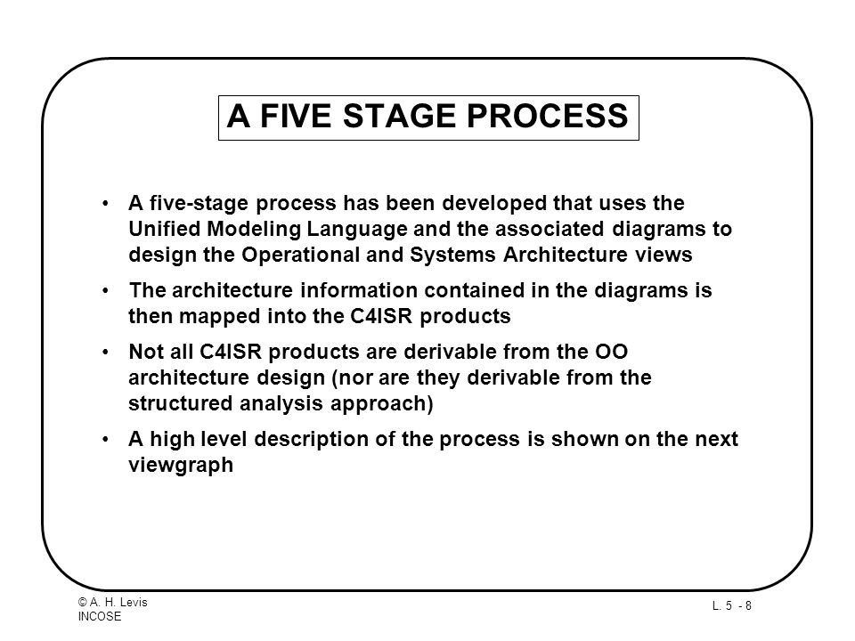 L. 5 - 8 © A. H. Levis INCOSE A FIVE STAGE PROCESS A five-stage process has been developed that uses the Unified Modeling Language and the associated
