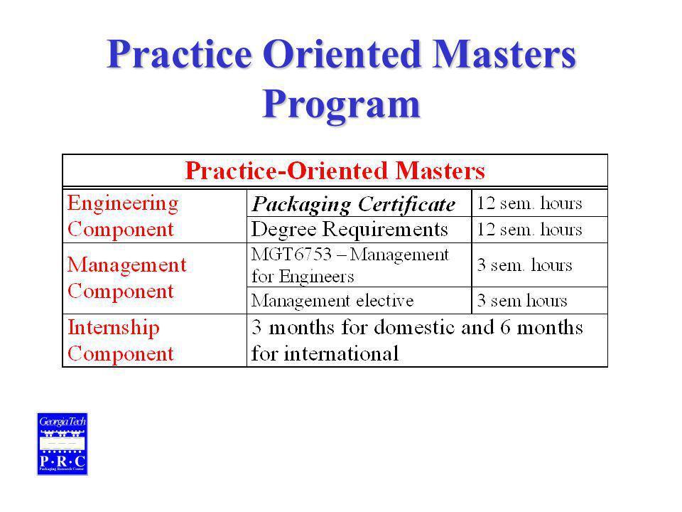 Practice Oriented Masters Program