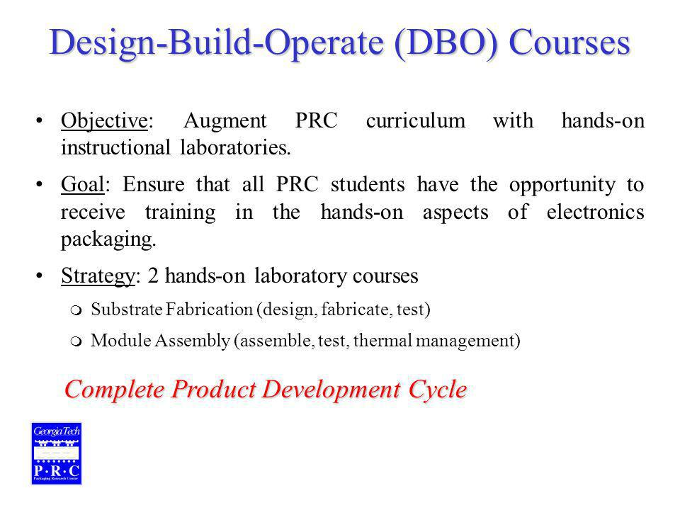 Design-Build-Operate (DBO) Courses Objective: Augment PRC curriculum with hands-on instructional laboratories.