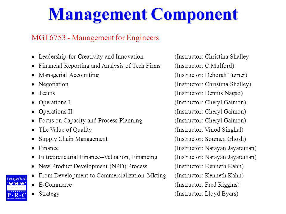 Management Component MGT Management for Engineers Leadership for Creativity and Innovation(Instructor: Christina Shalley Financial Reporting and Analysis of Tech Firms (Instructor: C.Mulford) Managerial Accounting(Instructor: Deborah Turner) Negotiation(Instructor: Christina Shalley) Teams(Instructor: Dennis Nagao) Operations I(Instructor: Cheryl Gaimon) Operations II(Instructor: Cheryl Gaimon) Focus on Capacity and Process Planning(Instructor: Cheryl Gaimon) The Value of Quality(Instructor: Vinod Singhal) Supply Chain Management(Instructor: Soumen Ghosh) Finance(Instructor: Narayan Jayaraman) Entrepreneurial Finance--Valuation, Financing(Instructor: Narayan Jayaraman) New Product Development (NPD) Process(Instructor: Kenneth Kahn) From Development to Commercialization Mkting(Instructor: Kenneth Kahn) E-Commerce(Instructor: Fred Riggins) Strategy(Instructor: Lloyd Byars)
