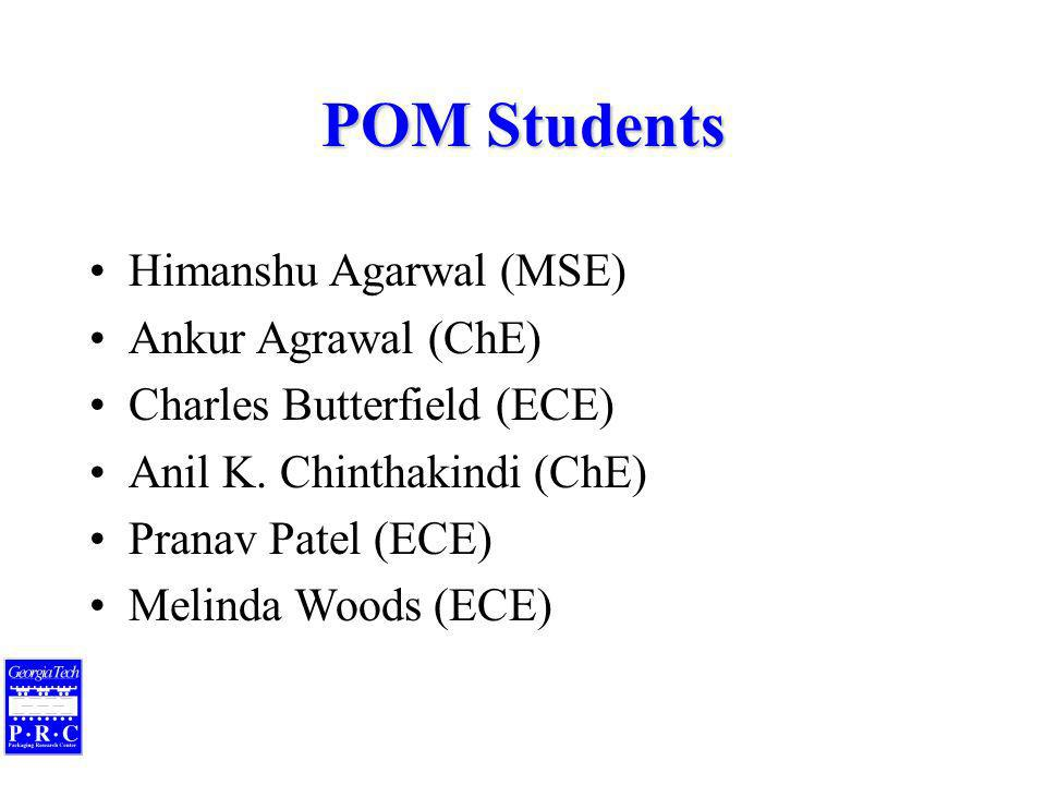 POM Students Himanshu Agarwal (MSE) Ankur Agrawal (ChE) Charles Butterfield (ECE) Anil K.