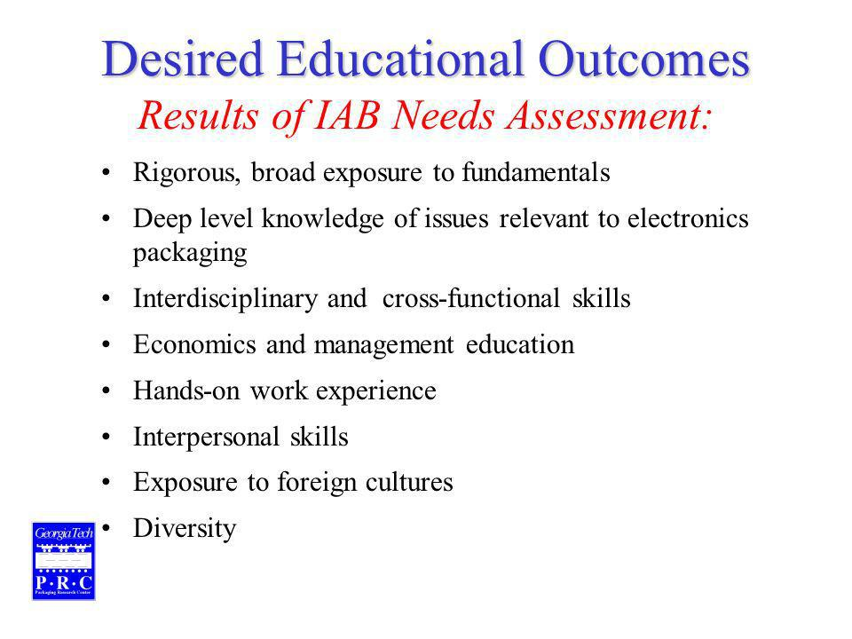 Desired Educational Outcomes Desired Educational Outcomes Results of IAB Needs Assessment: Rigorous, broad exposure to fundamentals Deep level knowledge of issues relevant to electronics packaging Interdisciplinary and cross-functional skills Economics and management education Hands-on work experience Interpersonal skills Exposure to foreign cultures Diversity