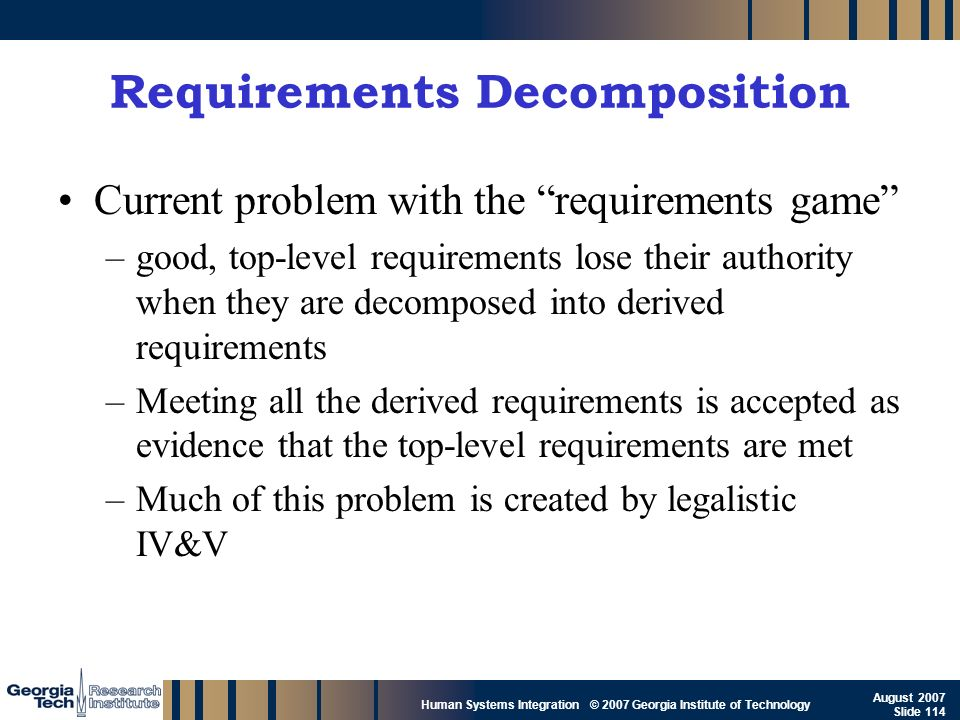 GTRI_B-114 Human Systems Integration © 2007 Georgia Institute of Technology August 2007 Slide 114 Requirements Decomposition Current problem with the