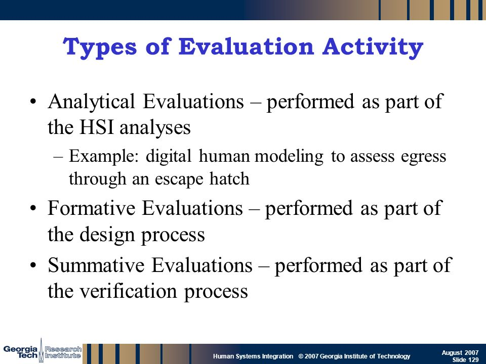 GTRI_B-129 Human Systems Integration © 2007 Georgia Institute of Technology August 2007 Slide 129 Types of Evaluation Activity Analytical Evaluations