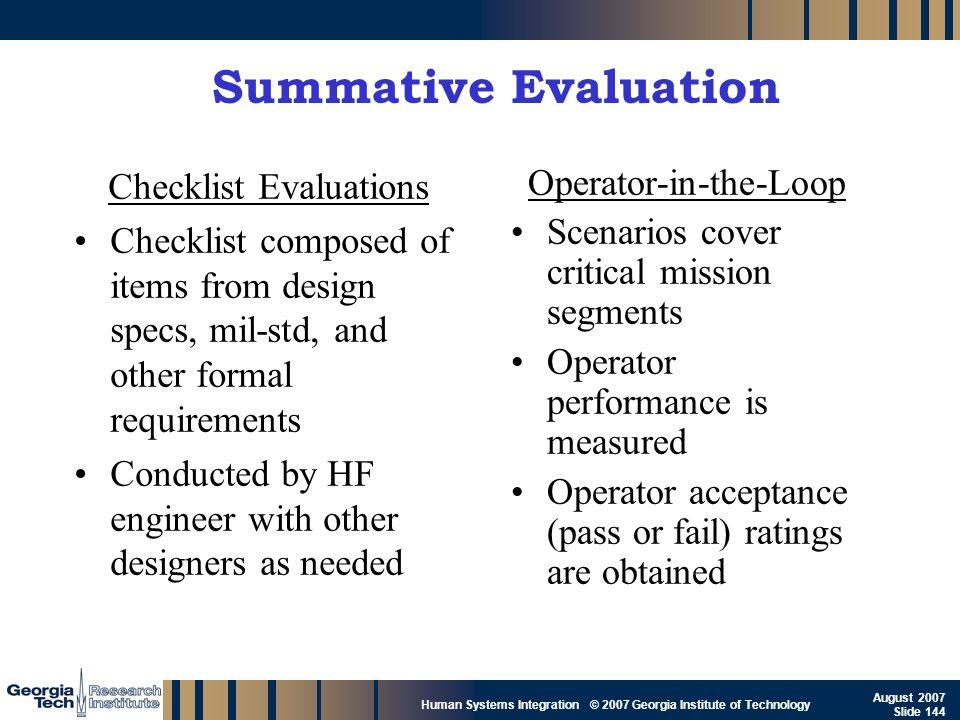GTRI_B-144 Human Systems Integration © 2007 Georgia Institute of Technology August 2007 Slide 144 Summative Evaluation Checklist Evaluations Checklist