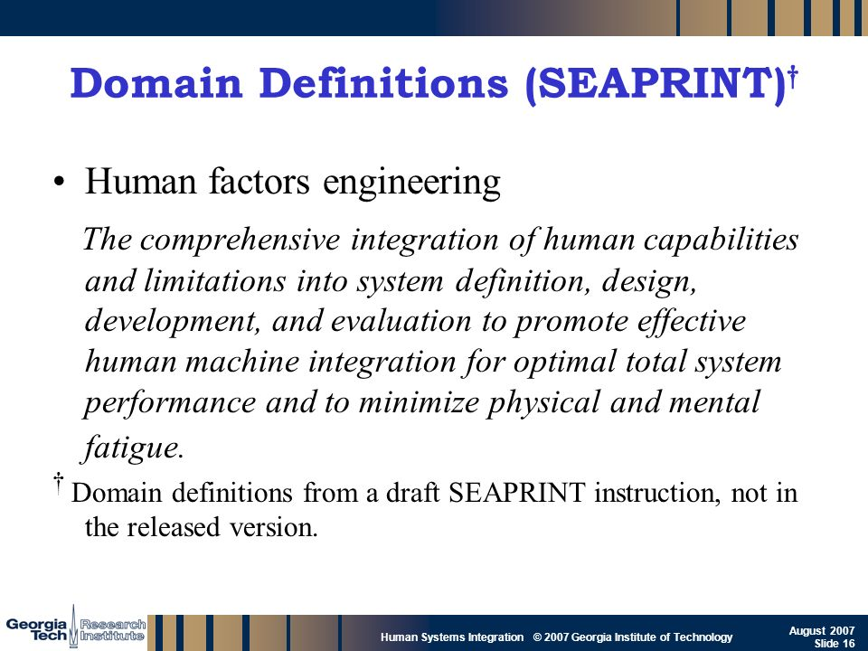 GTRI_B-16 Human Systems Integration © 2007 Georgia Institute of Technology August 2007 Slide 16 Domain Definitions (SEAPRINT) Human factors engineerin