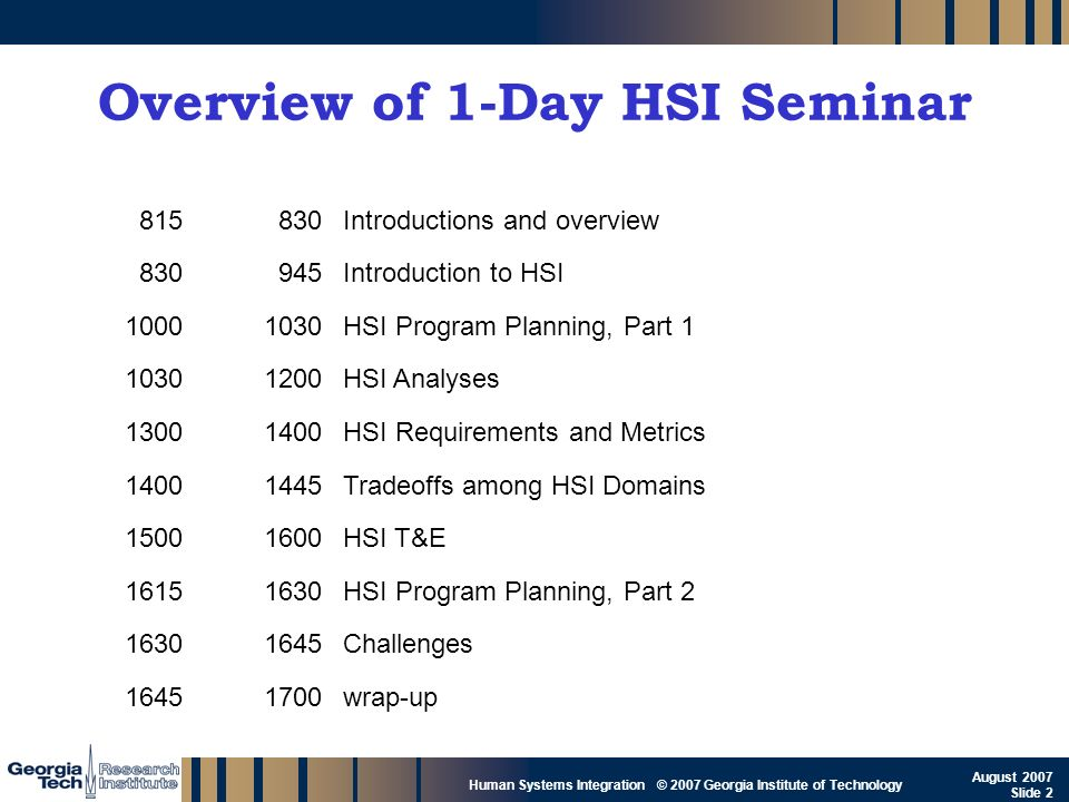 GTRI_B-2 Human Systems Integration © 2007 Georgia Institute of Technology August 2007 Slide 2 Overview of 1-Day HSI Seminar 815830Introductions and ov