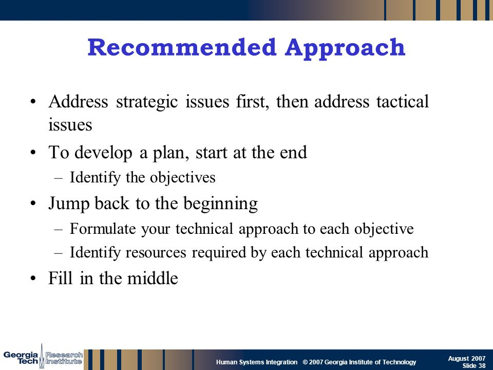 GTRI_B-38 Human Systems Integration © 2007 Georgia Institute of Technology August 2007 Slide 38 Recommended Approach Address strategic issues first, t