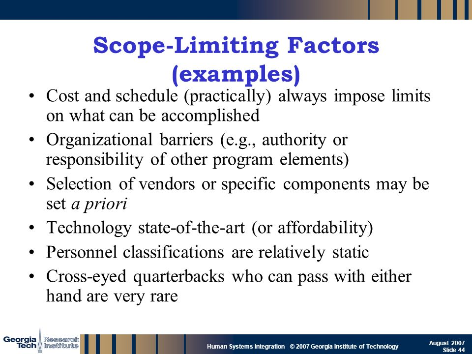 GTRI_B-44 Human Systems Integration © 2007 Georgia Institute of Technology August 2007 Slide 44 Scope-Limiting Factors (examples) Cost and schedule (p