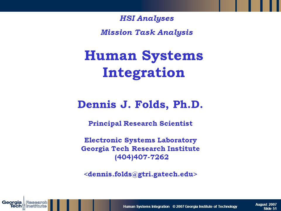GTRI_B-51 Human Systems Integration © 2007 Georgia Institute of Technology August 2007 Slide 51 Human Systems Integration HSI Analyses Mission Task An