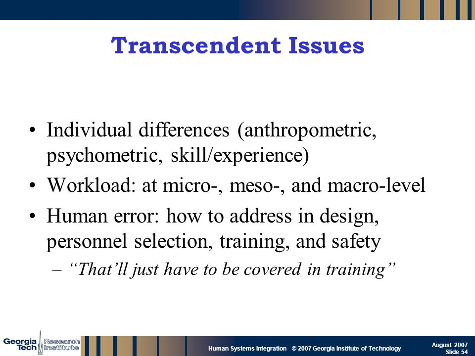 GTRI_B-54 Human Systems Integration © 2007 Georgia Institute of Technology August 2007 Slide 54 Transcendent Issues Individual differences (anthropome